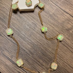 New Iridescent gold necklace and earring